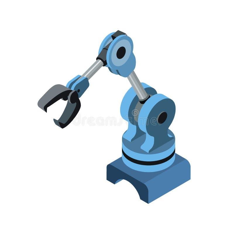 在蓝色的自动化的机器人胳膊 库存例证
