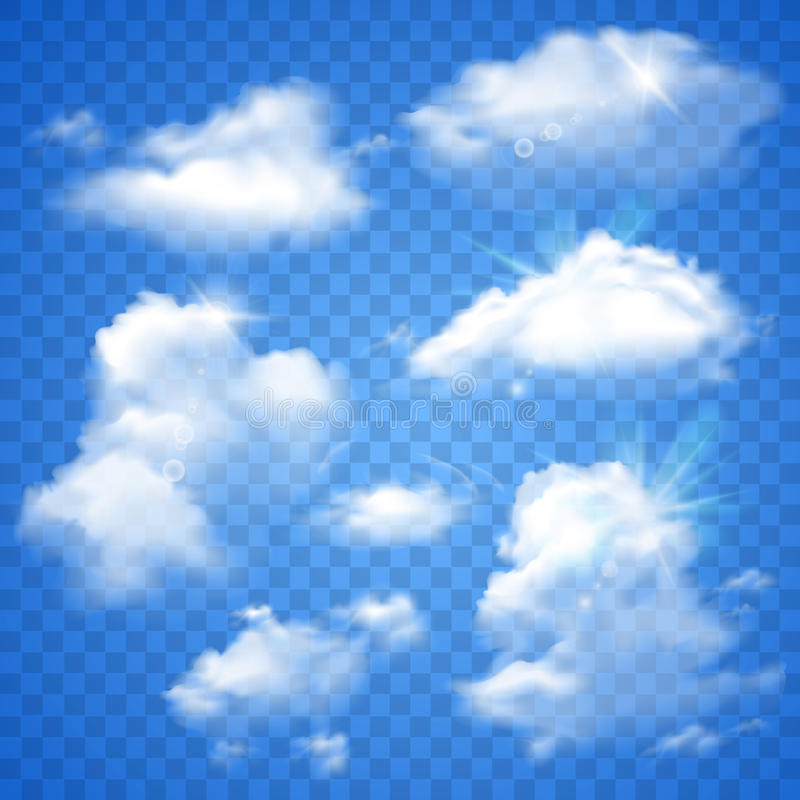 在蓝色的透明云彩 向量例证