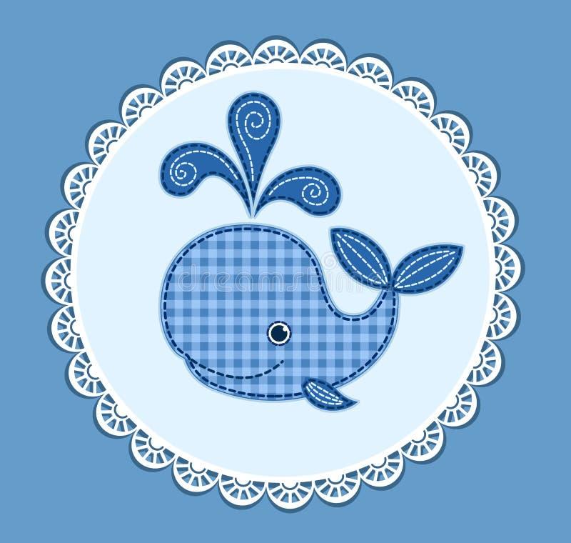在蓝色的逗人喜爱的小鲸鱼 皇族释放例证