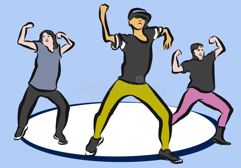 在蓝色的Hip Hop芭蕾舞蹈艺术 库存例证