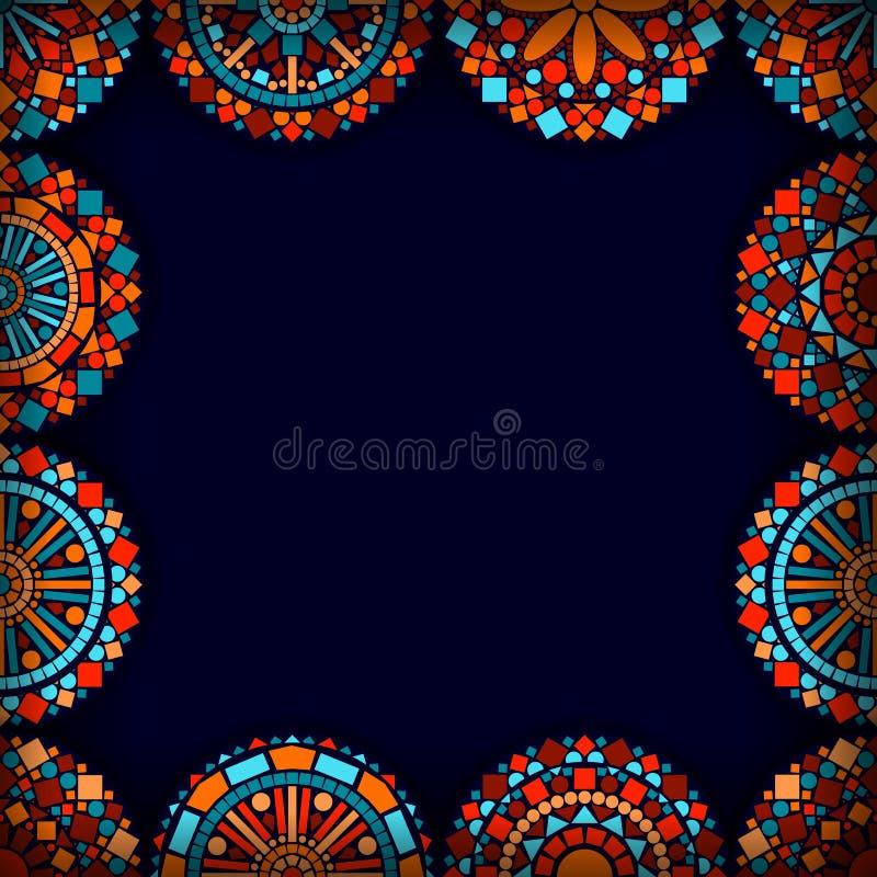 在蓝色红色和桔子,传染媒介的五颜六色的圈子花坛场框架 向量例证