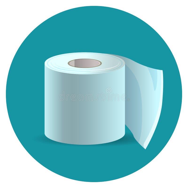 在蓝色网按钮传染媒介例证的卫生纸象 向量例证