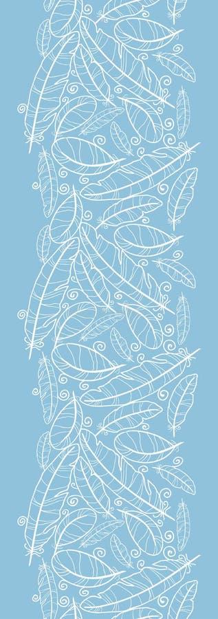 在蓝色羽毛垂直的无缝的样式的白色 库存例证