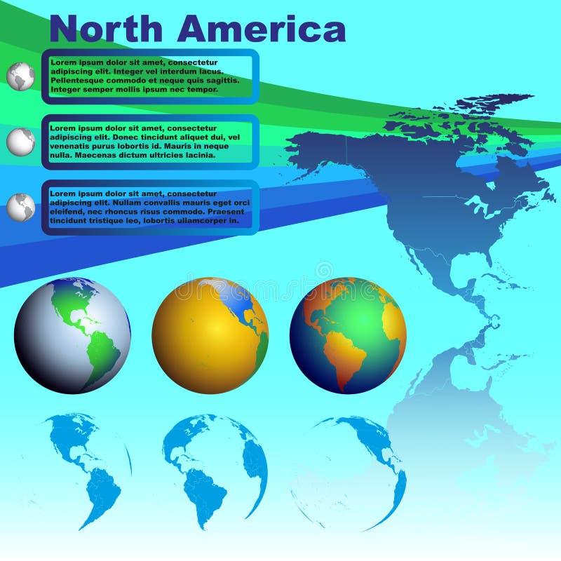在蓝色背景传染媒介的北美地图 向量例证