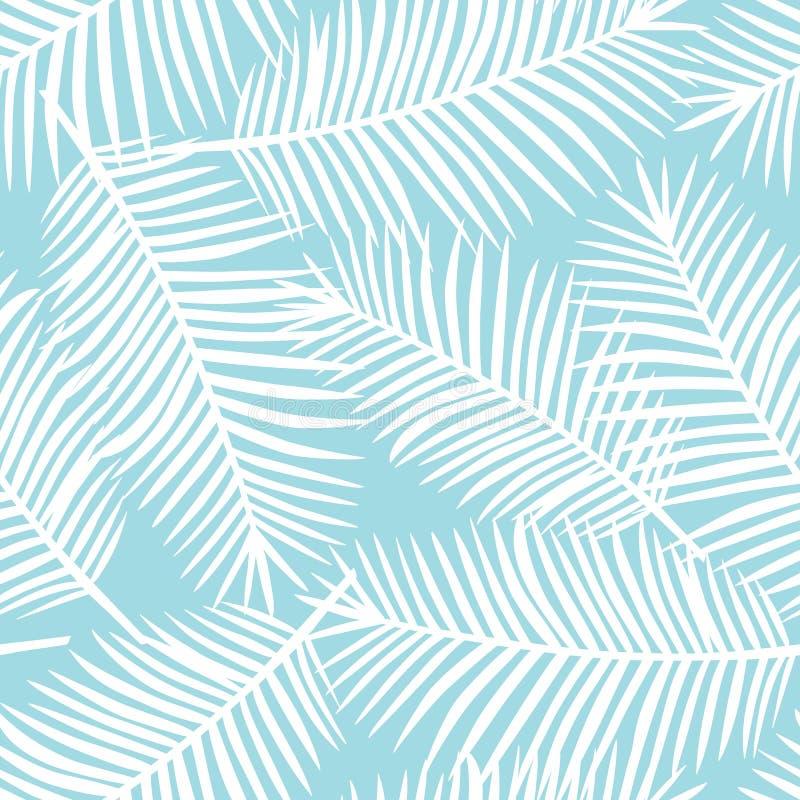 在蓝色背景异乎寻常的热带夏威夷se的白色棕榈叶 库存例证