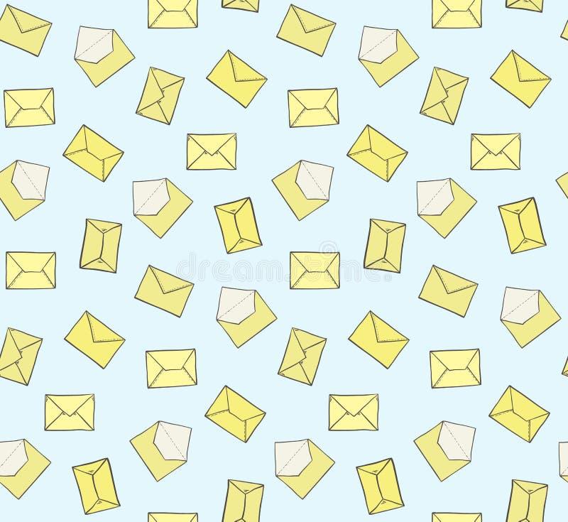 在蓝色背景无缝的样式的逗人喜爱的手拉的闭合和被打开的黄色信封 邮局邮件纹理 皇族释放例证