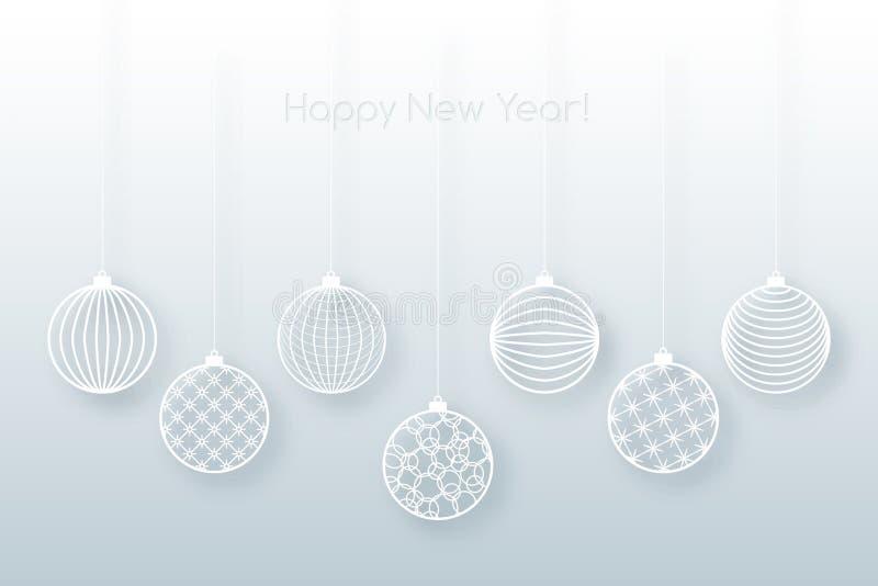 在蓝色背景欢乐背景的圣诞节背景白色球玩具空白线路玩具的圣诞节和新年样式的 库存例证
