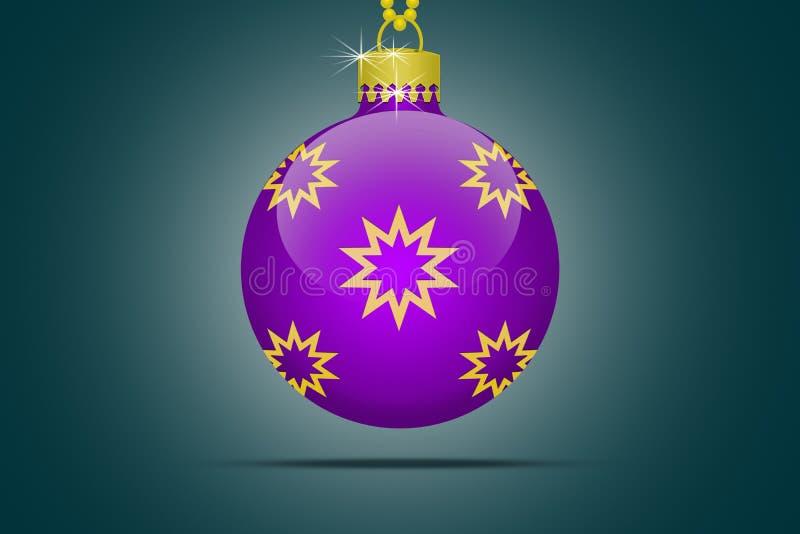 在蓝色背景的一件lila圣诞树球装饰品 库存例证