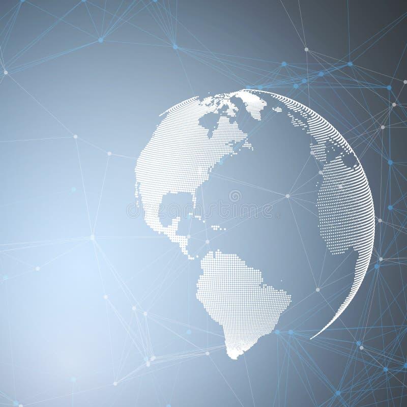 在蓝色背景的世界地球与连接线和小点,多角形线性纹理 全球网络连接 皇族释放例证