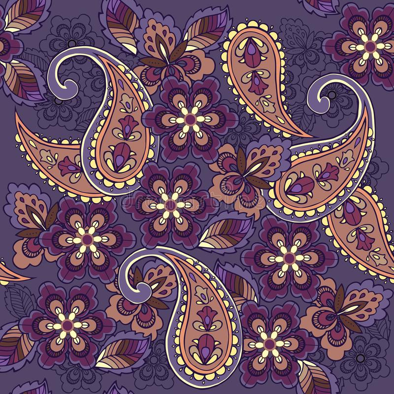 在蓝色背景的东方无缝的佩兹利样式 织品的,纺织品,包装纸装饰装饰品背景 向量例证