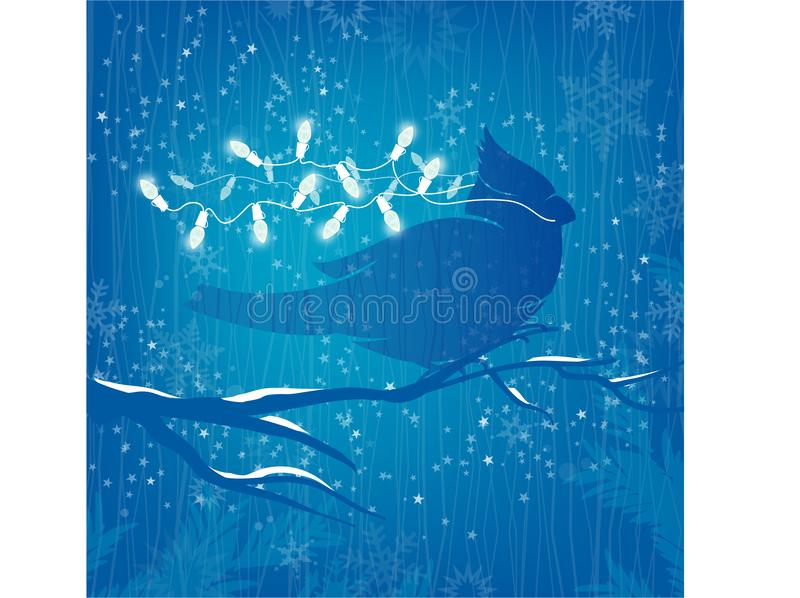 在蓝色背景的主要鸟白色圣诞节光与星 向量例证