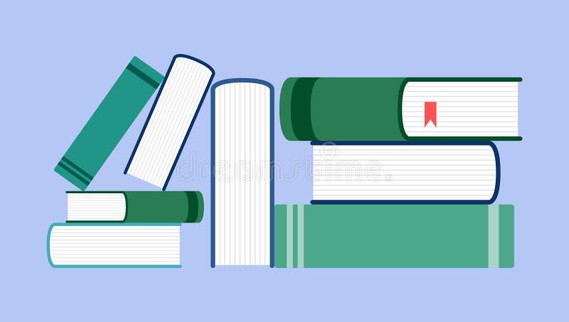在蓝色背景的书平的设计样式 向量例证