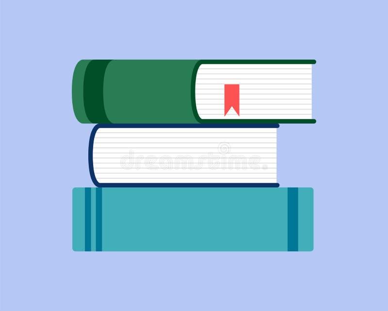 在蓝色背景的书平的设计样式 库存例证
