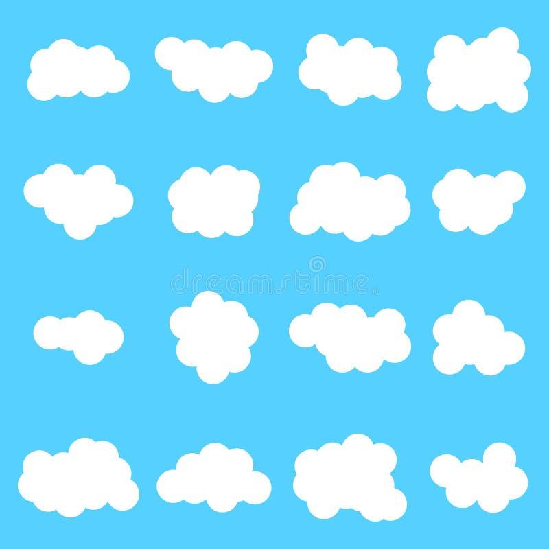 在蓝色背景的云彩象集合白色颜色 向量例证