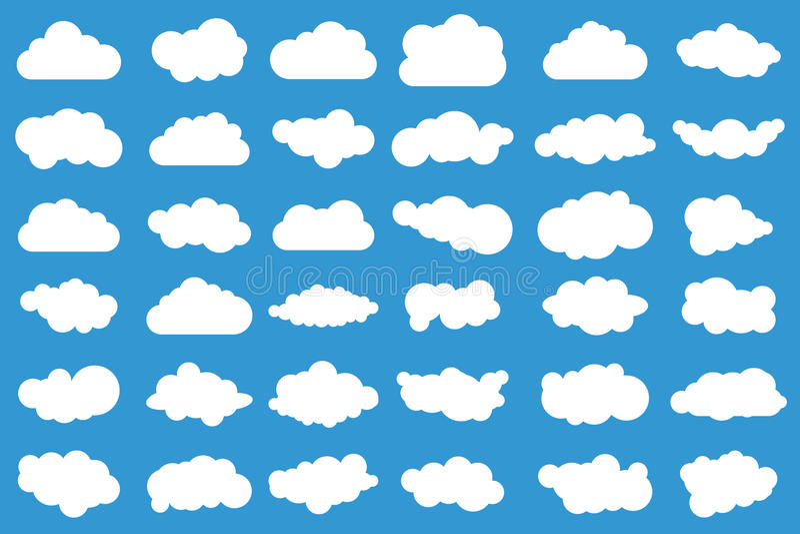 在蓝色背景的云彩象 36朵不同云彩 cloudscape 云彩 向量例证