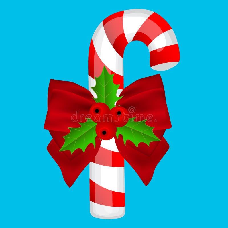 在蓝色背景的传统圣诞节糖果 向量例证