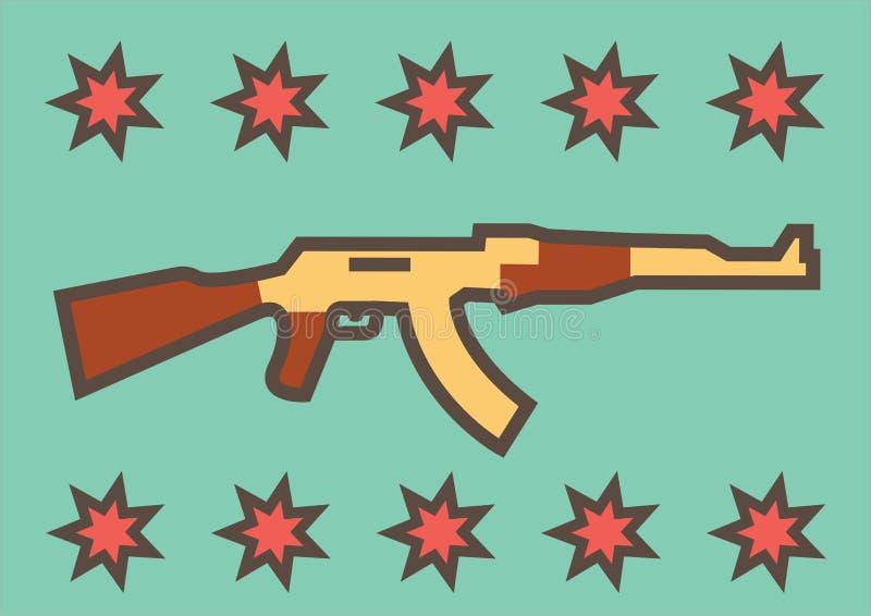 在蓝色背景的俄国攻击步枪AK-47与星的装饰 向量例证
