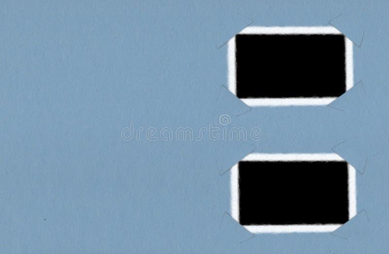 在蓝色背景的偏正片相框 向量例证