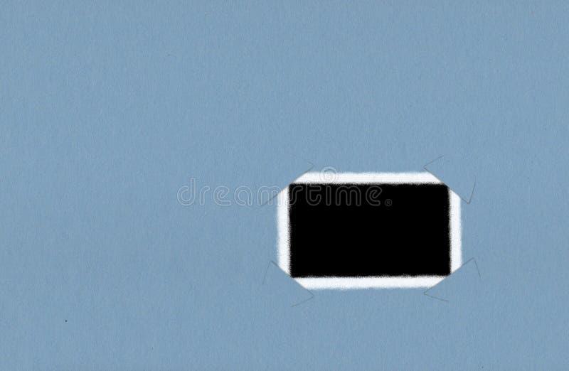 在蓝色背景的偏正片相框 库存例证