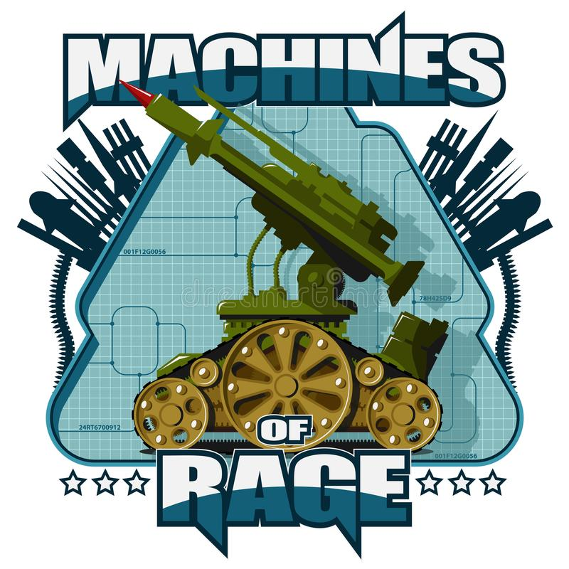 在蓝色背景的军用机器人 向量例证