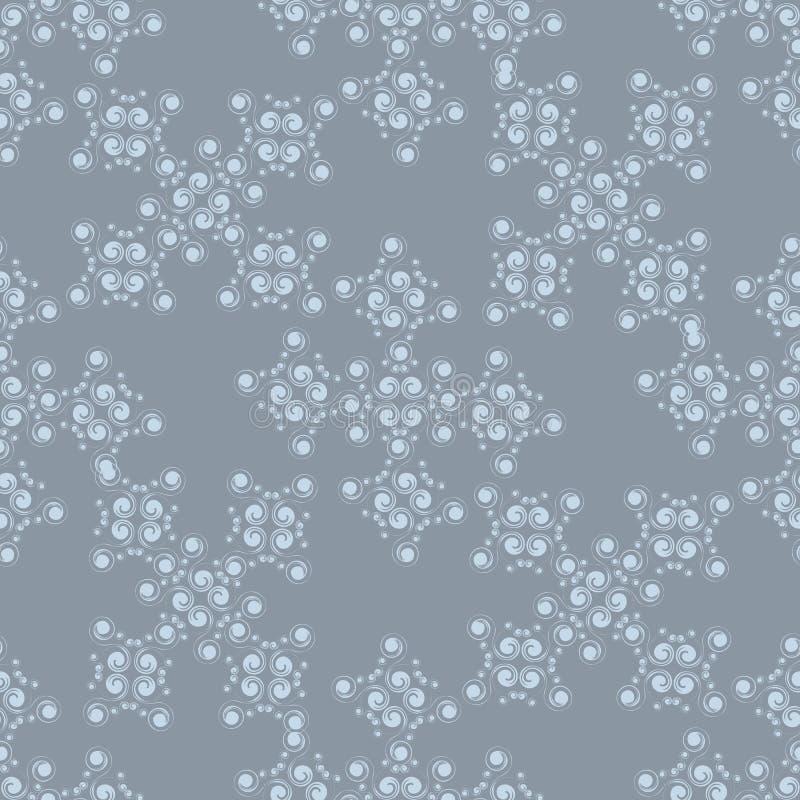 在蓝色背景的冬天无缝的白色样式 库存图片