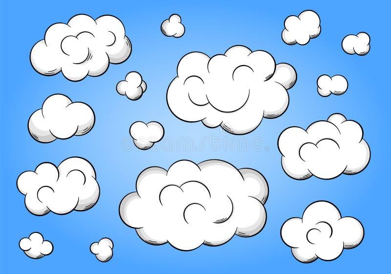 在蓝色背景的动画片云彩 皇族释放例证