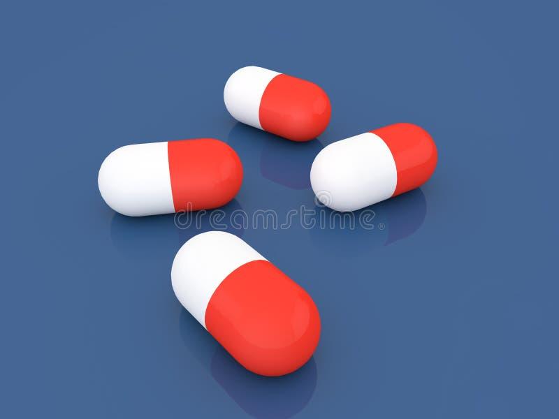 在蓝色背景的医药片剂 皇族释放例证