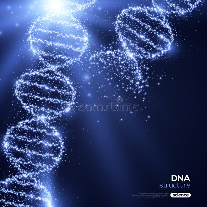 在蓝色背景的发光的脱氧核糖核酸螺旋 库存例证