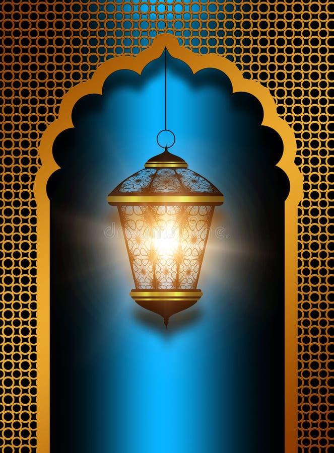 在蓝色背景的发光的diwali灯笼 向量例证