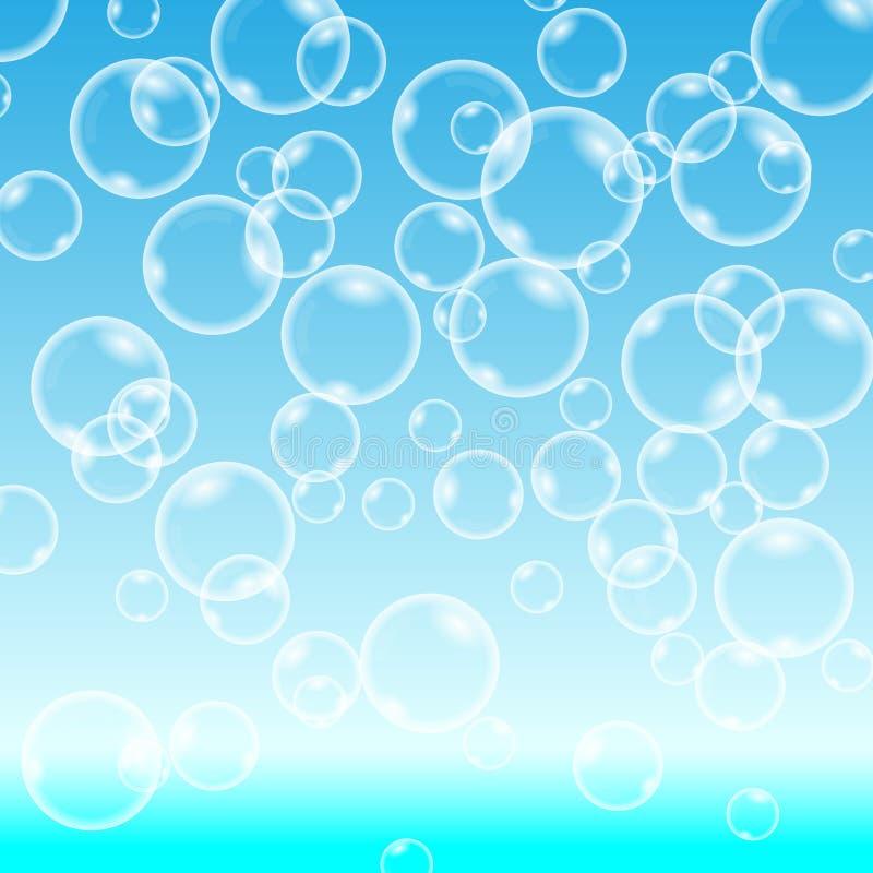 在蓝色背景的向量泡影 图库摄影