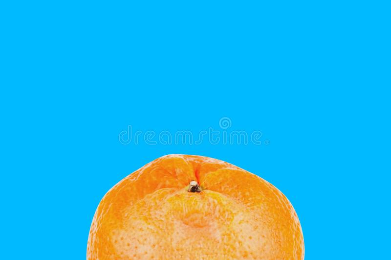 在蓝色背景的唯一新鲜的整个可口橙色普通话与您的文本的拷贝空间 库存照片