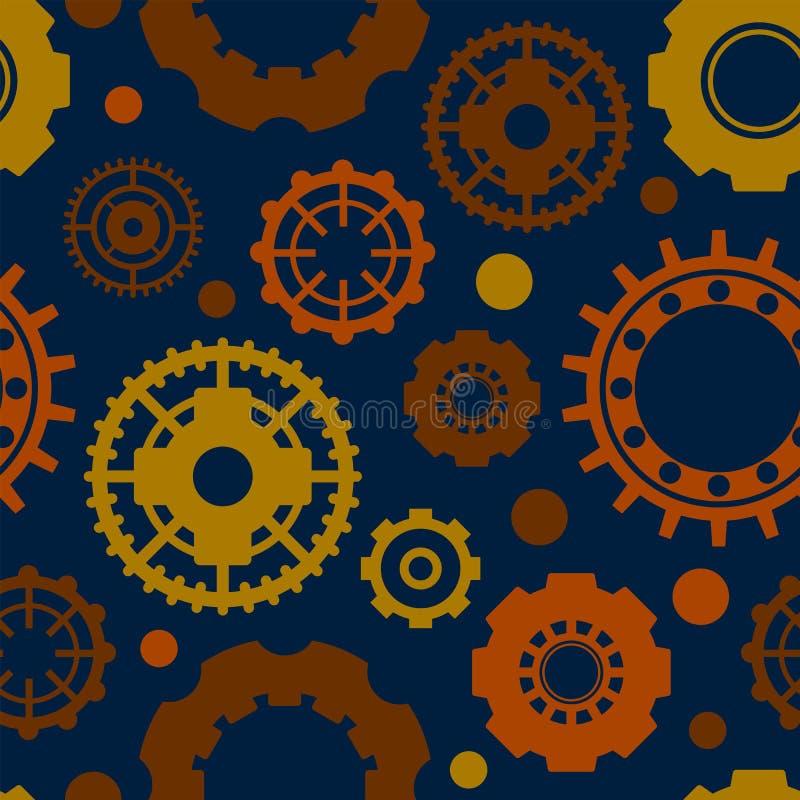 在蓝色背景的土气橙色链轮 工业无缝的样式 橙色链轮包装纸 库存例证