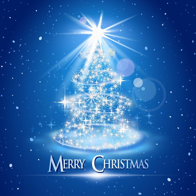 在蓝色背景的圣诞树和光 向量例证