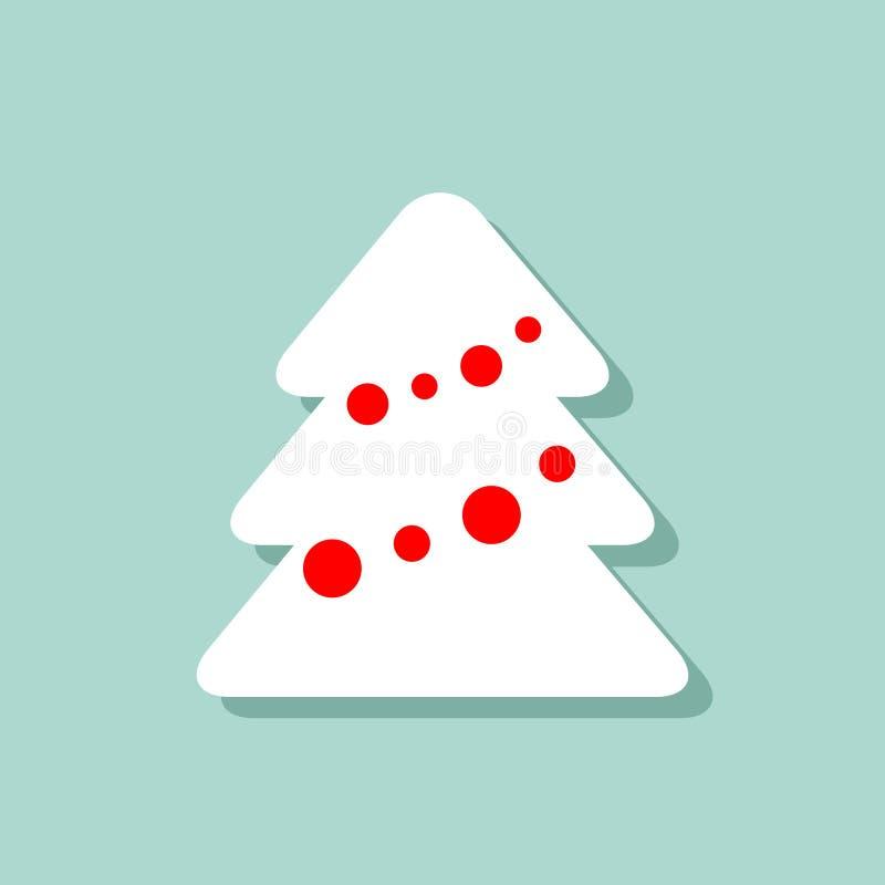 在蓝色背景的圣诞树象 与阴影的传染媒介图象 新年在平的样式的动画片图片 卡片设计 向量例证