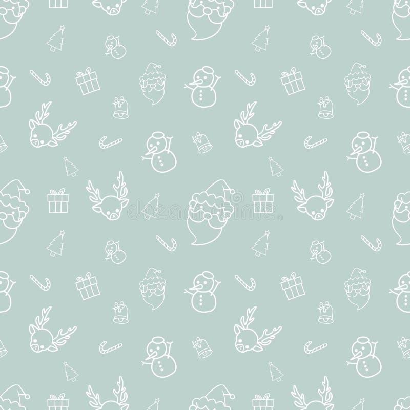 在蓝色背景的圣诞节无缝的样式乱画 向量例证