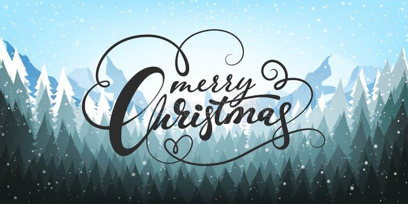 在蓝色背景的圣诞节海报与雪和树 愉快的消息新年度 也corel凹道例证向量 皇族释放例证