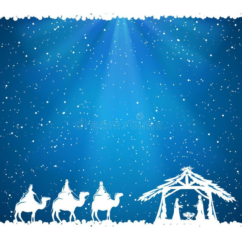 在蓝色背景的圣诞节题材 皇族释放例证