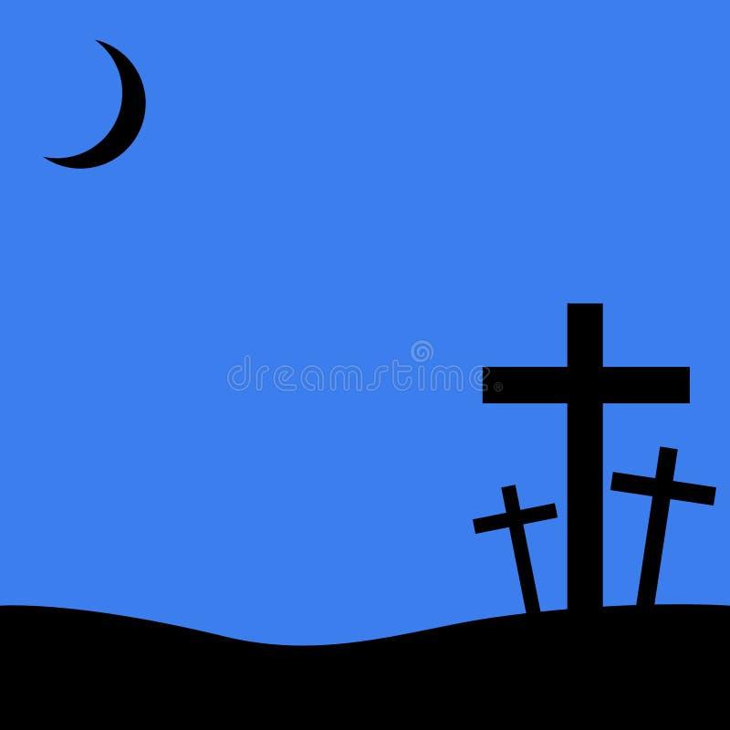 在蓝色背景的基督徒十字架 免版税库存图片