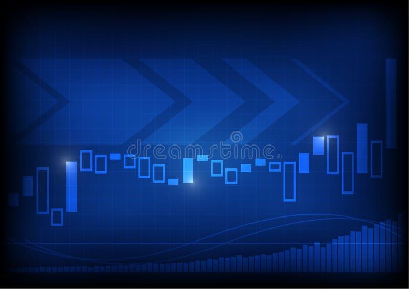 在蓝色背景的增长的企业图表 皇族释放例证