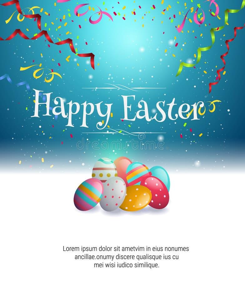 在蓝色背景的复活节彩蛋和庆祝丝带 皇族释放例证