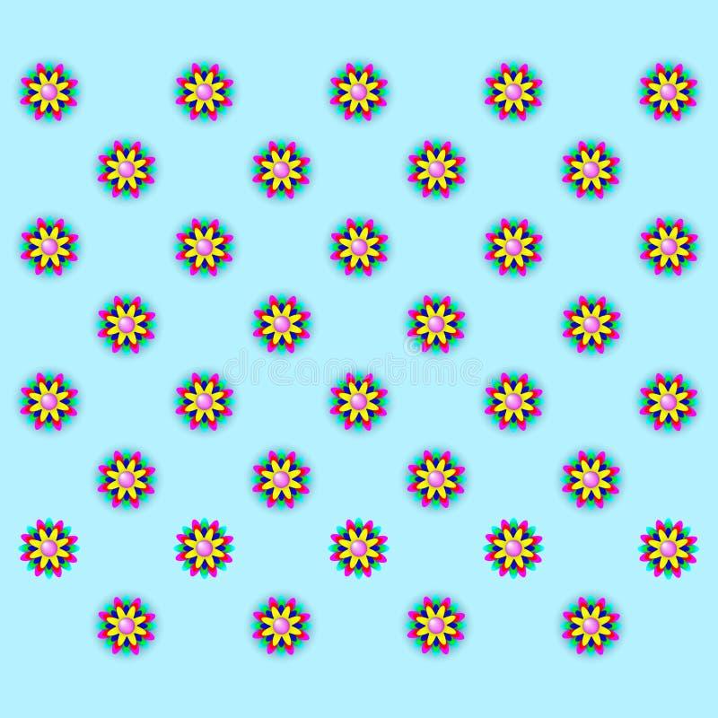 在蓝色背景的多彩多姿的花 免版税图库摄影