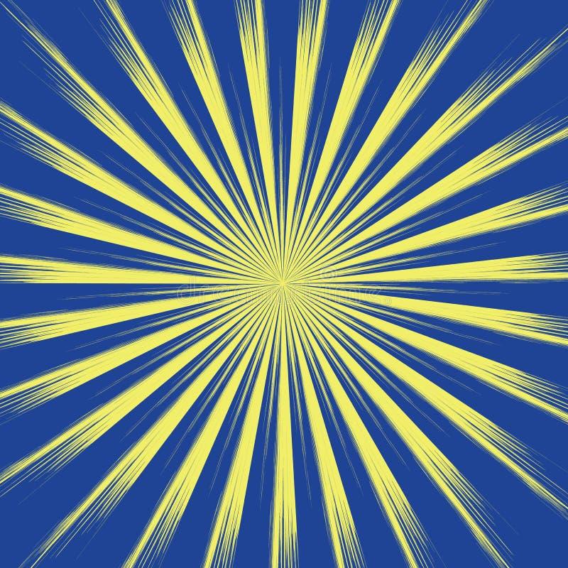 在蓝色背景的太阳黄色光芒 与长的光芒传染媒介eps10的太阳 库存例证