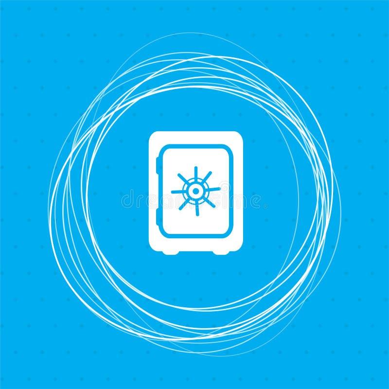 在蓝色背景的安全金钱象与抽象您的文本的圈子在附近和地方 库存例证