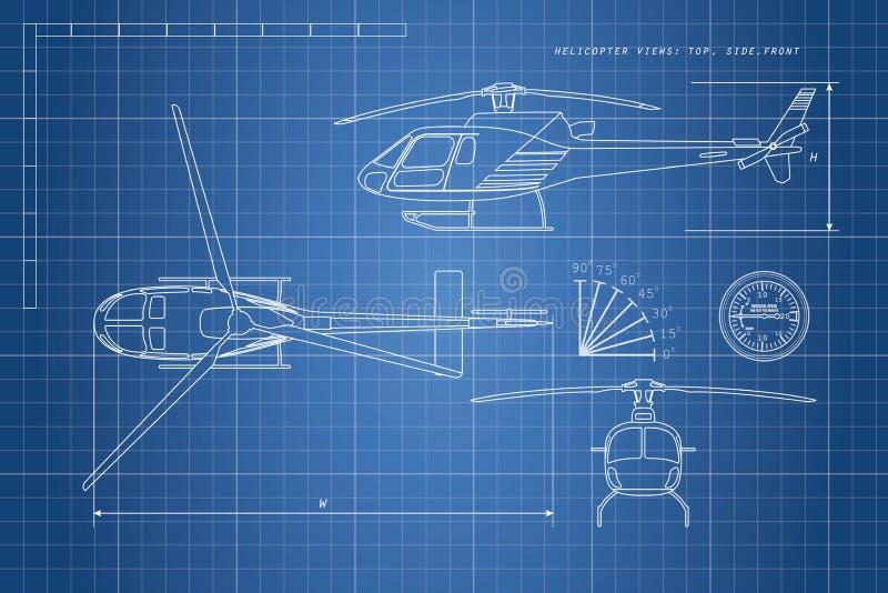 在蓝色背景的工程图直升机 三个看法 库存例证