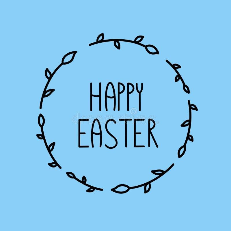 在蓝色背景的愉快的复活节刷子字法例证 ( 标志圆的花卉事假框架 皇族释放例证