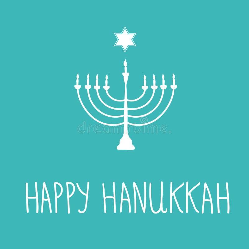在蓝色背景的手拉的白色大卫星Menorah蜡烛台剪影 在犹太假日上写字的愉快的光明节手 皇族释放例证