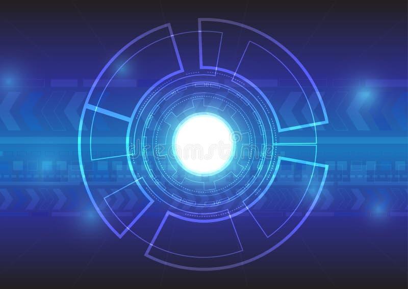 在蓝色背景的抽象技术 免版税库存图片