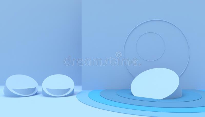在蓝色背景的指挥台几何形状最小和现代概念艺术淡色蓝色墙壁场面 库存例证