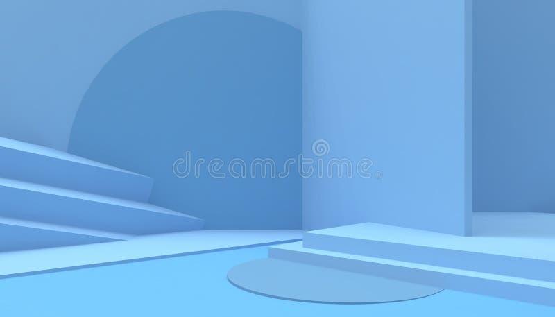 在蓝色背景的指挥台构成几何形状最小和现代概念艺术淡色蓝色墙壁场面 皇族释放例证