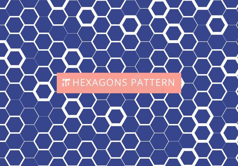 在蓝色背景的摘要白色六角样式 蜂窝设计 化学六角形现代时髦的纹理 库存例证